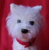 West Highland white terrier (Westie) all'uncinetto