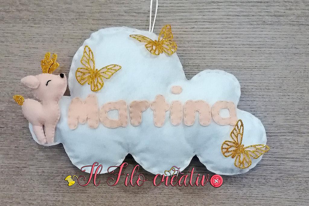 Fiocco Nascita Nuvola con Cerbiatto e Farfalle con nome personalizzato per bambina