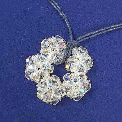 Ciondolo cristallo bianco, perline e cristalli, cordoncino, arte del gioiello, fatto a mano, modello esclusivo, pezzo unico, idea regalo, festa della mamma.