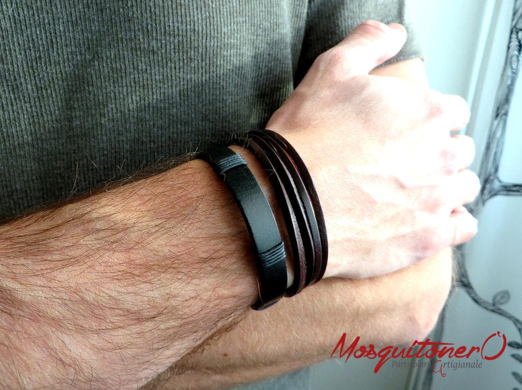 Bracciale UOMO CUOIO chiusura magnetica braccialetto marrone casual style
