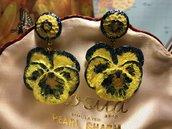 Orecchini Artigianali Viola Panse' gialla e azzurra
