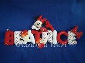 Banner nome lettere imbottite, idea regalo nascita, battesimo o compleanno. Minnie rosso