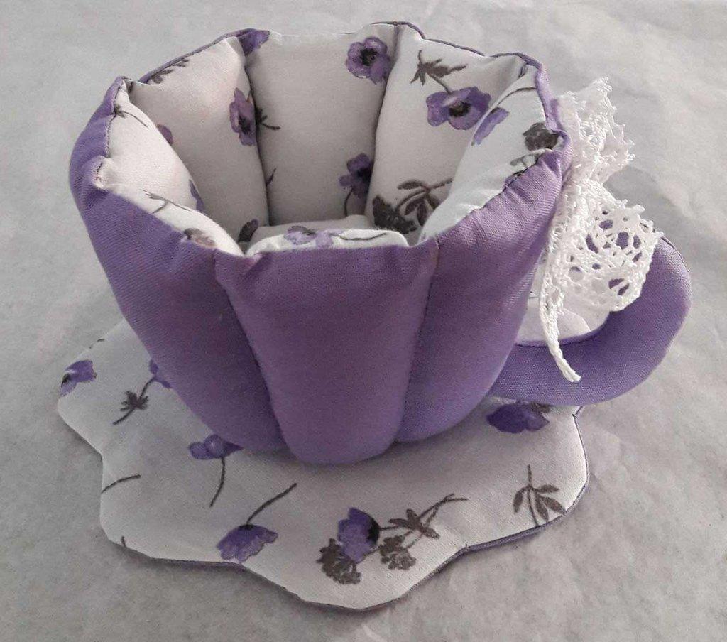 Tazza in tessuto viola lilla provenza con pizzo