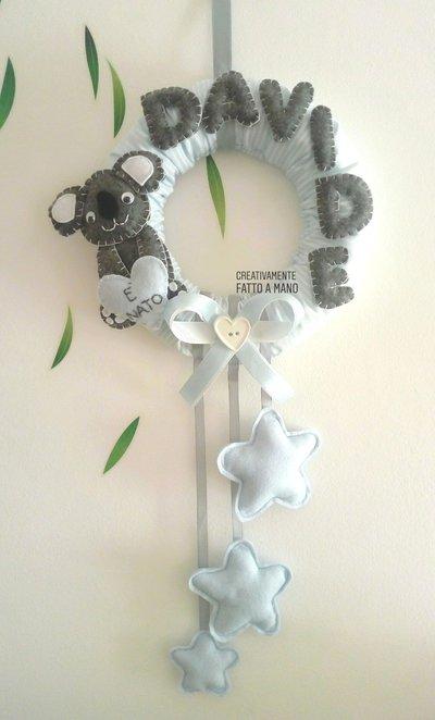 Fiocco nascita con koala  rigato celeste.