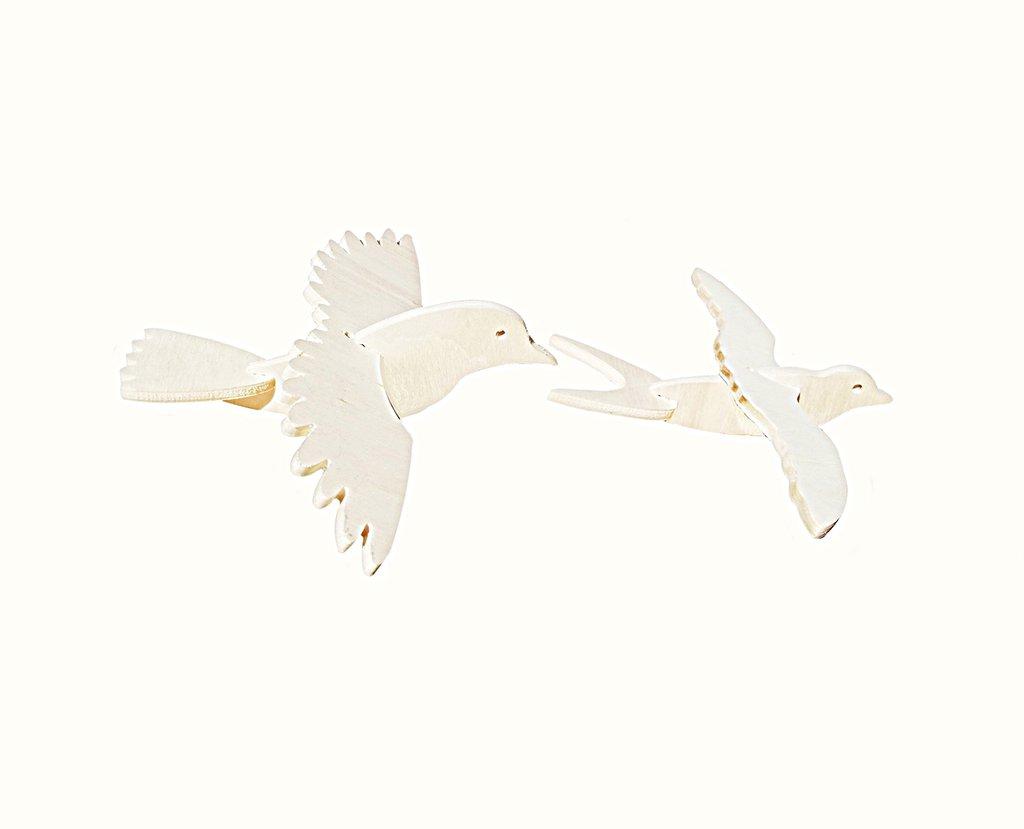 Uccellini in Legno 3D 6 Pezzi