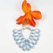 Bracciale perline, azzurro grigio argento, cristalli, tessitura, pezzo unico, modello esclusivo, idea regalo, compleanno.