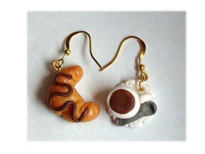 Colazione- orecchini tazzina caffè croissant