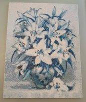 Quadro mosaico vaso di fiori blu con cornice a giorno misura 30x40