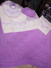 Completo neonata in lino e lana