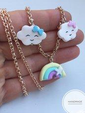 Collana con ciondoli nuvoletta e arcobaleno