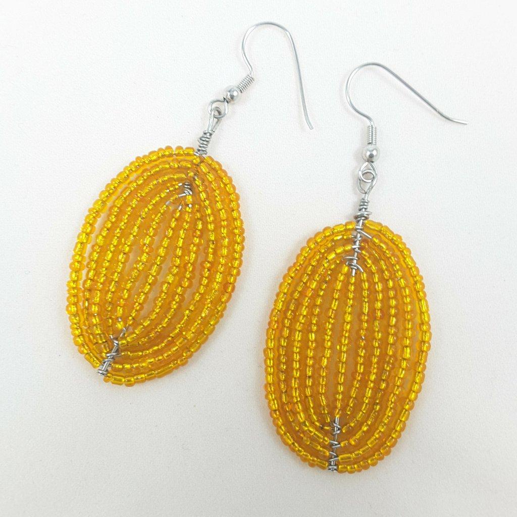 Orecchini wire, perline arancio, pendenti, pezzo unico, ooak, modello originale, idea regalo per compleanno, festa della mamma