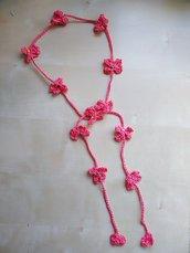 Collane  lariat uncinetto corallo collane lunghe in cotone stile boho romantico rosso corallo con fiori e perline collane lunghe gioiello nickel free