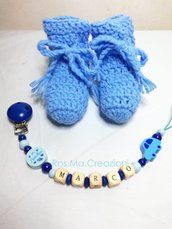 Set nascita portaciuccio e Scarpine di lana fatti a mano