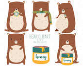 Clipart digitale orso. Serie di 5 clipart digitali per scrapbooking.