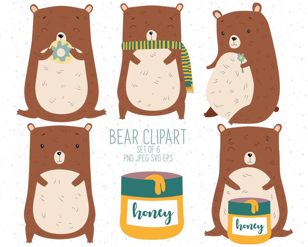 Clipart digitale orso. Serie di 5 clipart digitali per scrapbooking.