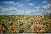 Quadro pittura estate cielo girasoli
