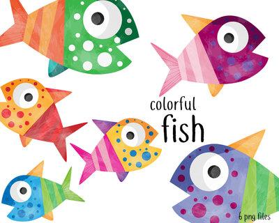 Clipart digitale Pesce per Decorazioni Feste, Biglietti di Auguri, Inviti, Decorazioni Agende. Set di 6 clipart