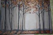 Quadro bosco autunno colori acrilici