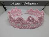 Fascia fermacapelli baby coroncina rosa, idea regalo.