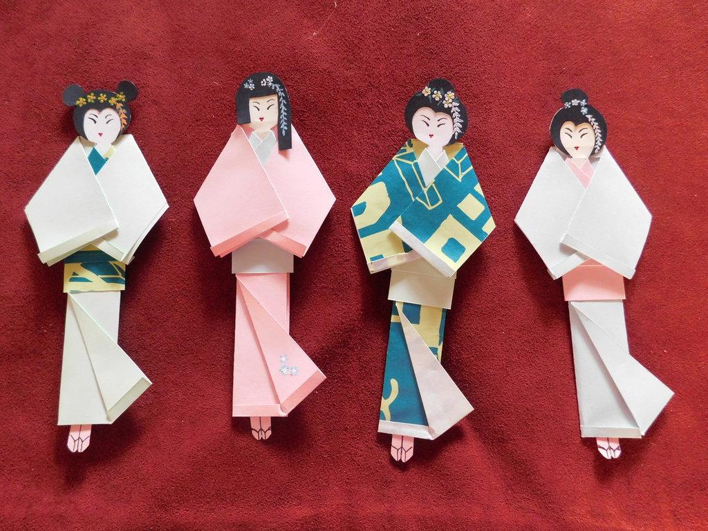 cartamodello segnalibro in cartoncino stile origami mod.geisha II°