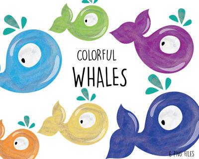 Clipart digitale Balena per Decorazioni Feste, Biglietti di Auguri, Inviti, Decorazioni Agende. Set di 6 clipart