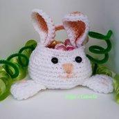 coniglietto cestino portaovetti di Pasqua ad uncinetto - no ovetti