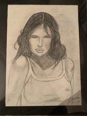Disegno quadro ragazza chiaroscuro