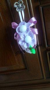 Uovo pasqua decorato, tubolare, fiocco, fiori, decorazioni, fantasy