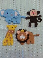 Animali (5 pezzi a scelta) in feltro pannolenci per decorazione bambino bambina