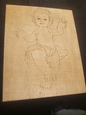 Quadro in legno  pirografato Gesù bambino