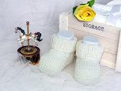 Scarpine lana neonato neonata realizzate a mano a maglia - bianco