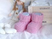 Scarpine lana neonato neonata realizzate a mano a maglia - rosa