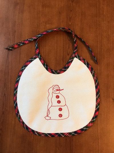 Bavaglina natalizia con pupazzo di neve