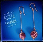 Orecchini pendenti in oro rosa a spirale fatti a mano