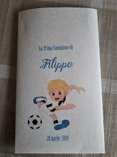 20 Sacchetti carta confettata personalizzati, nascita,battesimo,prima comunione bimbo tema calcio
