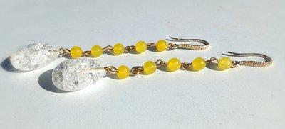 orecchini con agata gialla e cristallo di rocca