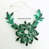 Collana kanzashi con fiore colore smeraldo