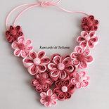 Collana kanzashi colore rosa 1.4