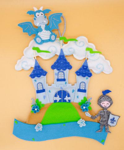 Fiocco nascita con castello e draghetto, 37 x 32 cm