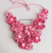 Collana kanzashi colore rosa 1.5