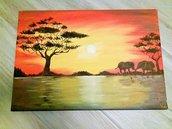 Quadro Safari tramonto con elefanti