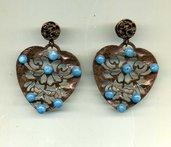 ORECCHINI pendenti con cuore in bronzo e azzurrite