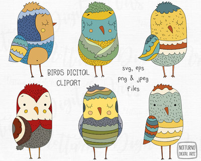 Clipart digitali uccellini. File digitali per Scrapbooking. Disegni Colorati. SVG, EPS, PNG e JPEG. Set di 6