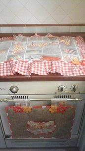 IN SALDO - Set cucina MAXI  copriforno e fornelli COUNTRY in arancio, per cucina con 5 fuochi
