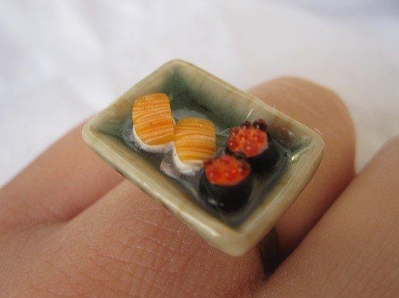 anello SUSHI in Fimo cernit