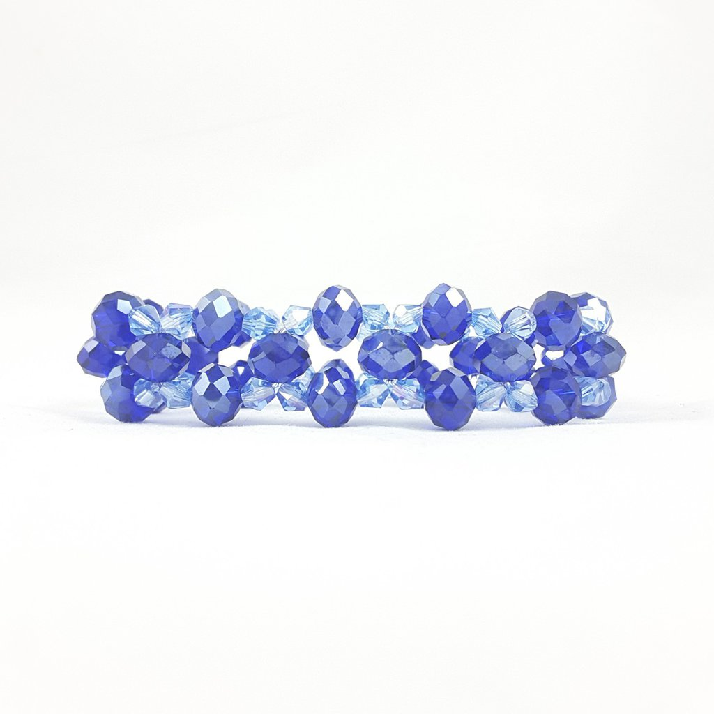 Bracciale blu e zaffiro con cristalli, fascia elasticizzata, pezzo unico, modello esclusivo, design originale, idea regalo, compleanno di lei.