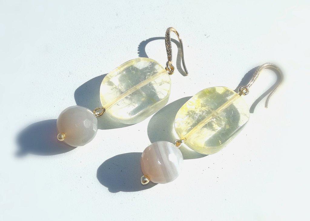orecchini con quarzo a agata