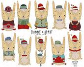 Clipart Digitali Coniglietti per scrapbooking. Decorazioni Feste, Biglietti di Auguri, Inviti, Decorazioni Agende. Uso commerciale.