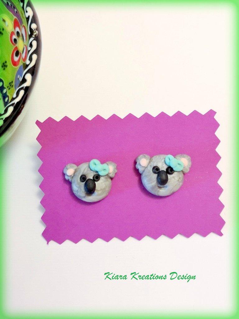 Orecchini con koala in fimo, gioielli con koala per un'idea regalo con koala australiano, gioielli bambini, regalo mamma, gioielli animali