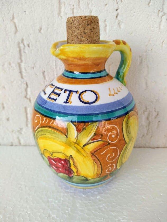 Acetiera in ceramica dipinta a mano